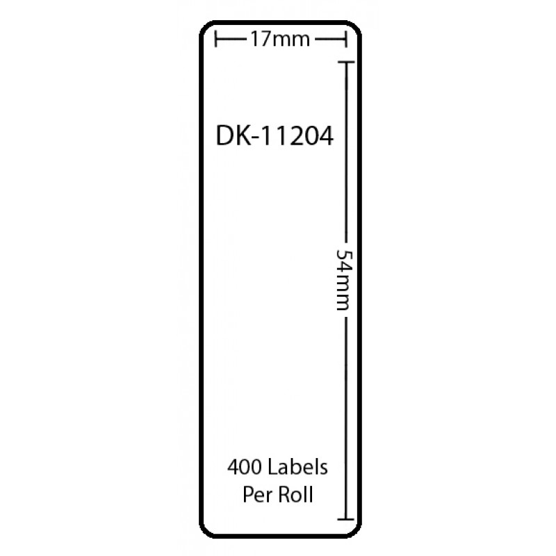Compatible Brother White Address Labels DK-11204 17mm x 54mm (Pack Of 5)