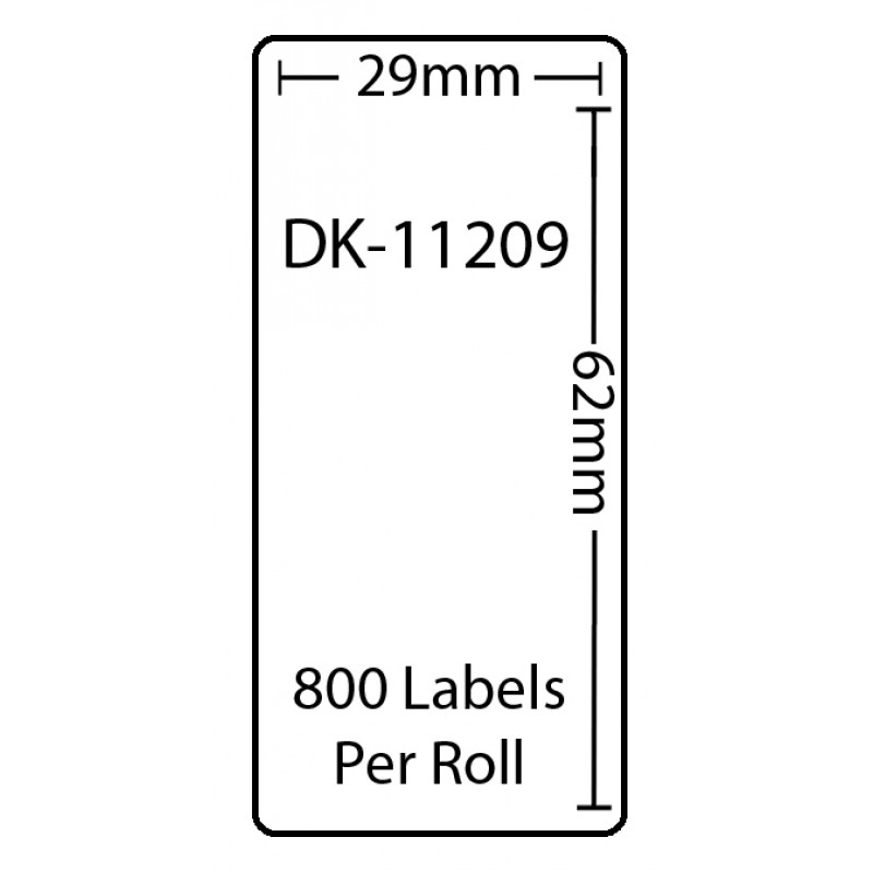 Compatible Brother White Address Labels DK-11209 29mm x 62mm (Pack Of 5)