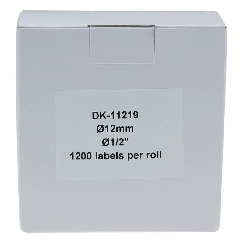 Compatible Brother White Address Labels DK-11219 12mm Round (Pack Of 50)
