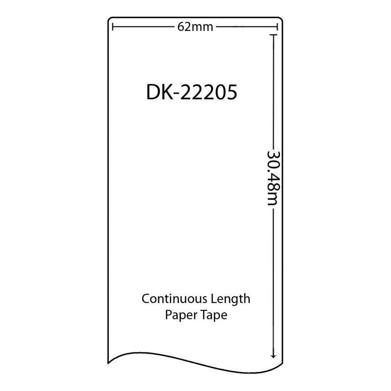 Compatible Brother White Address Labels DK-22205 62mm x 30.48m (Pack Of 100)