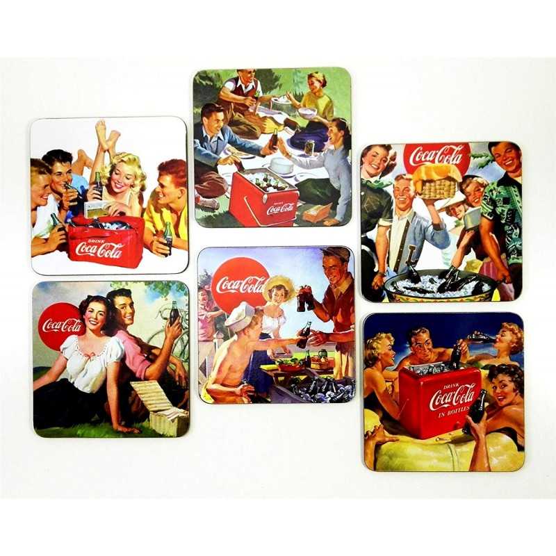 Coca Cola 50's Friendly Circle Cork Backed Coasters (Pack Of 6)