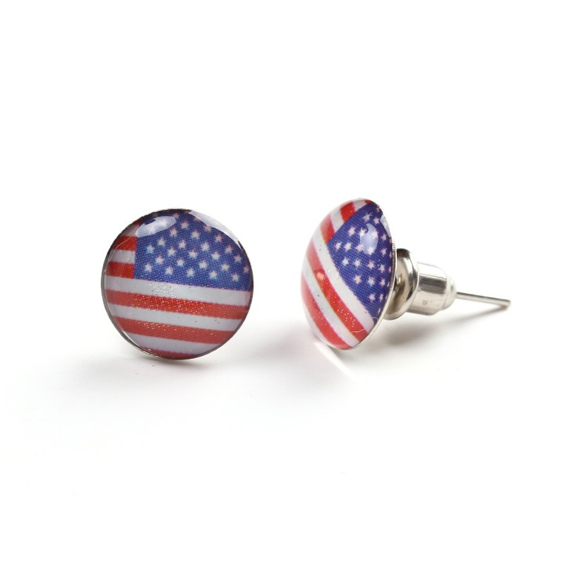 USA Flag Stainless Steel Unisex Stud Earrings