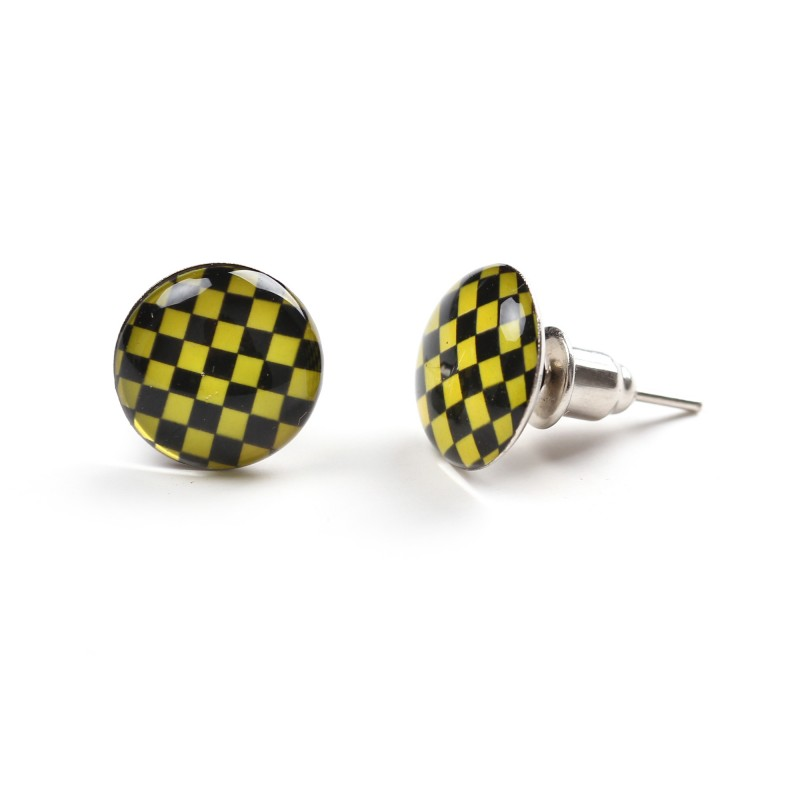 Yellow And Black Checkered Stainless Steel Unisex Stud Earrings