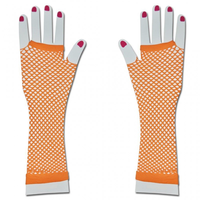 Party Long Fishnet Gloves Fancy Dress Tutu (Orange)
