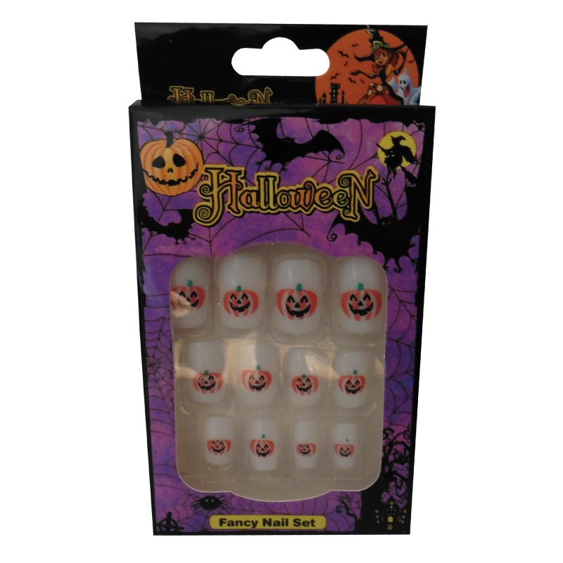 12 Halloween Themed Fake Nails with Glue (HN1)
