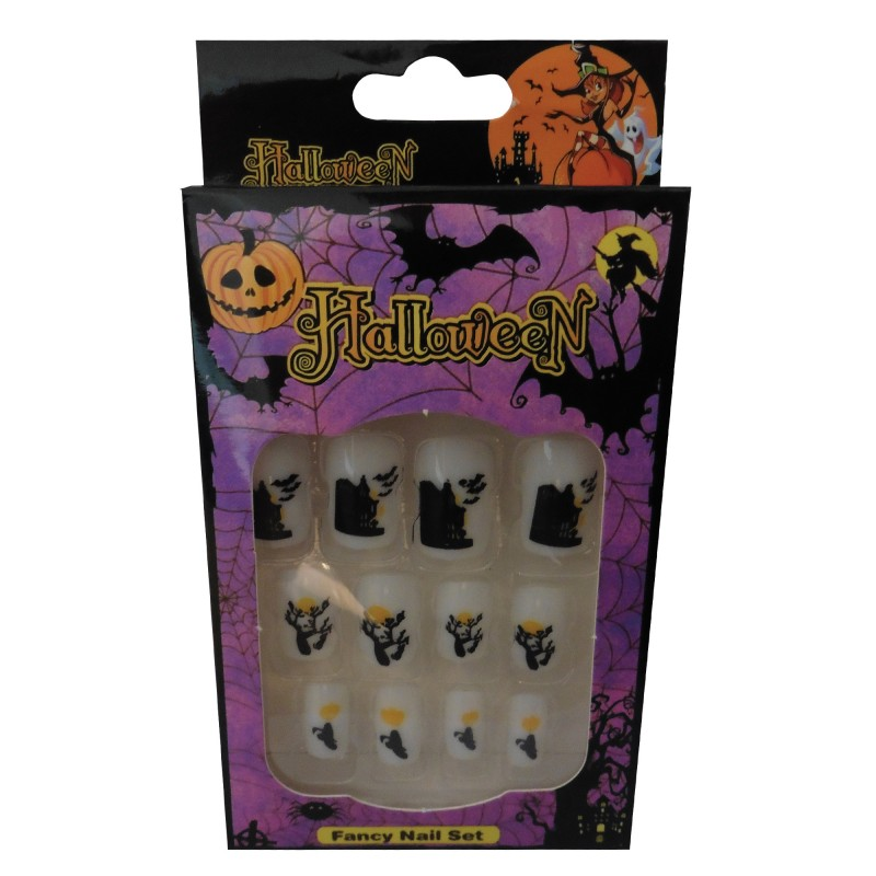 12 Halloween Themed Fake Nails with Glue (HN10)