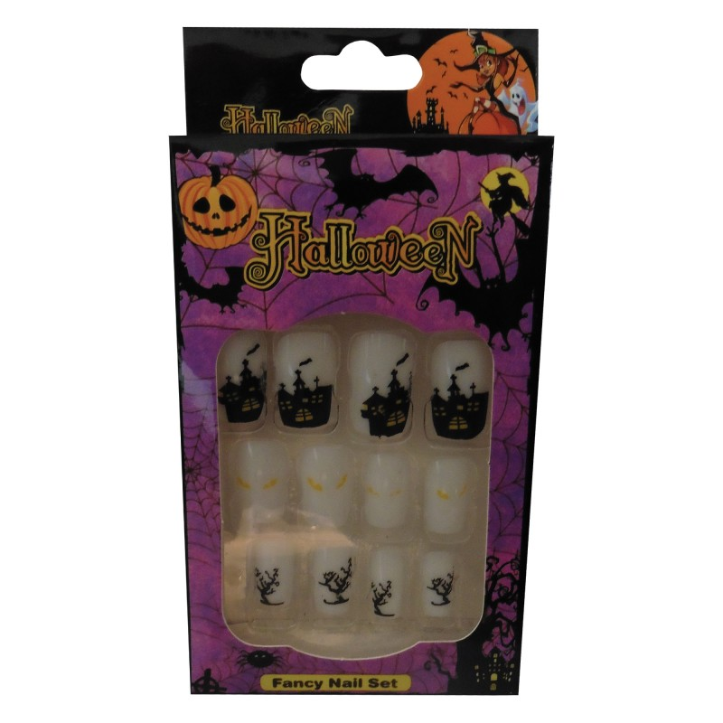 12 Halloween Themed Fake Nails with Glue (HN11)