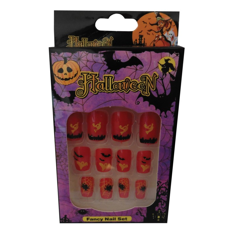 12 Halloween Themed Fake Nails with Glue (HN2)