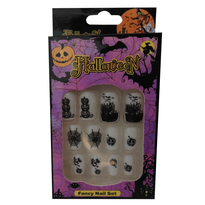 12 Halloween Themed Fake Nails with Glue (HN3)