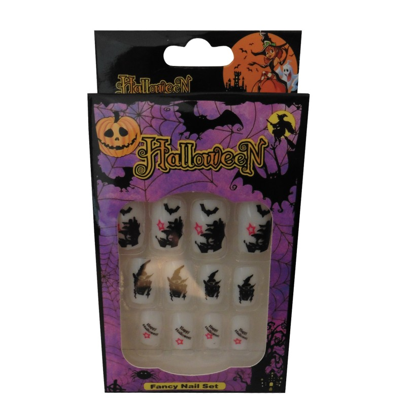 12 Halloween Themed Fake Nails with Glue (HN4)