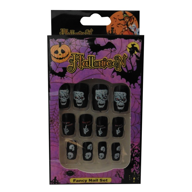 12 Halloween Themed Fake Nails with Glue (HN5)