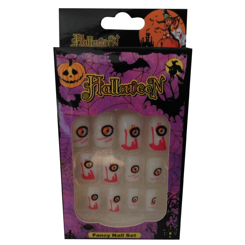 12 Halloween Themed Fake Nails with Glue (HN7)