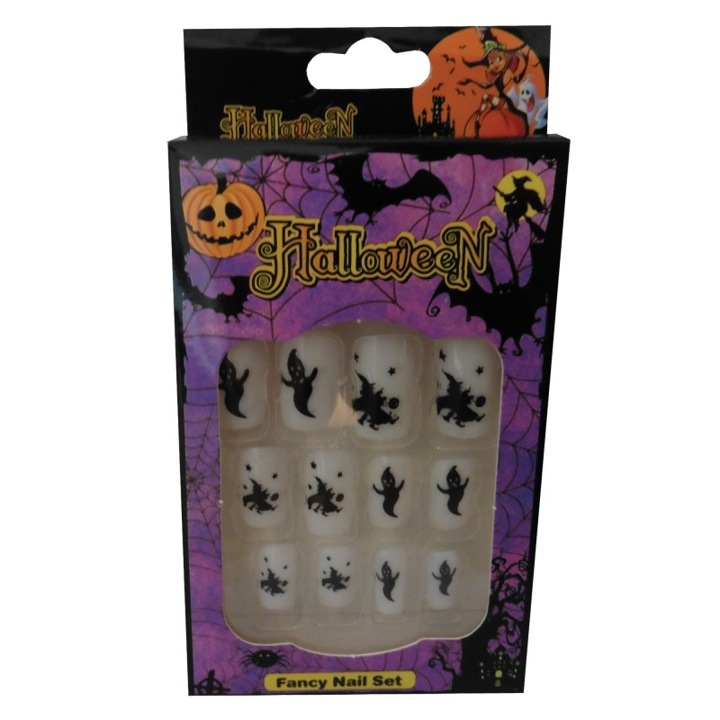 12 Halloween Themed Fake Nails with Glue (HN8)