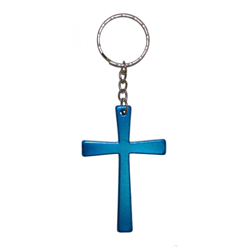 Christan Cross Light Blue Metal Keyring
