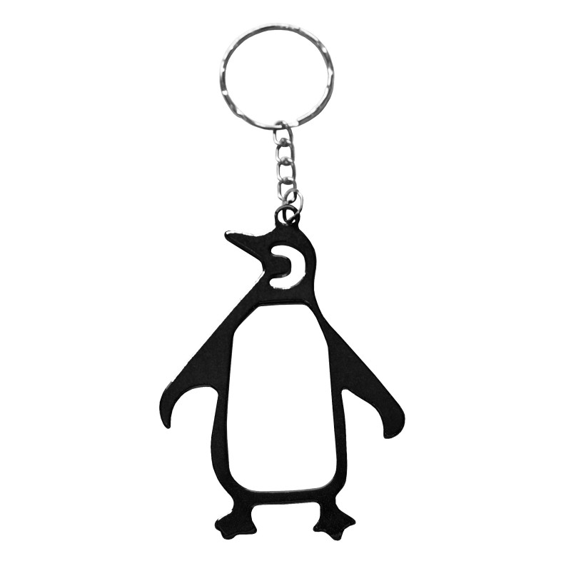 Penguin Black Bottle Opener Keyring