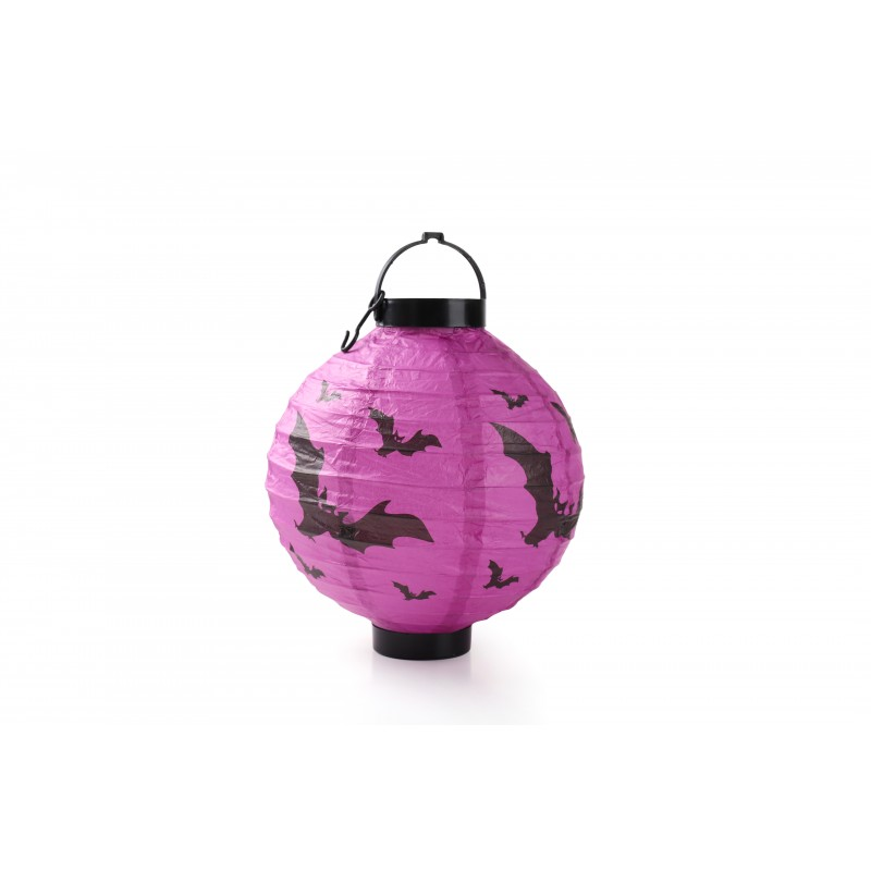 Halloween LED Bat Purple Light Up Hanging Portable Paper Lantern