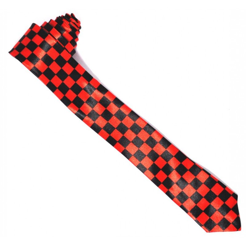 Mens Black and Red Checkered Neck Tie (Ti37)