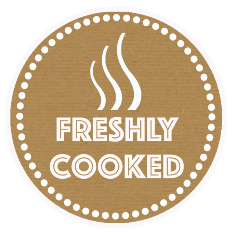 Freshly Cooked Brown Round Sticker For Baking Cooking Food Packaging (Pack Of 250)