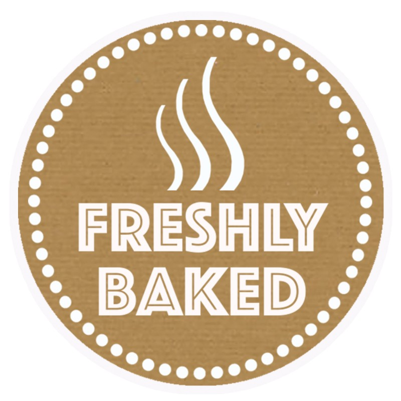 Freshly Baked Brown Round Sticker For Baking Cooking Food Packaging (Pack Of 25)