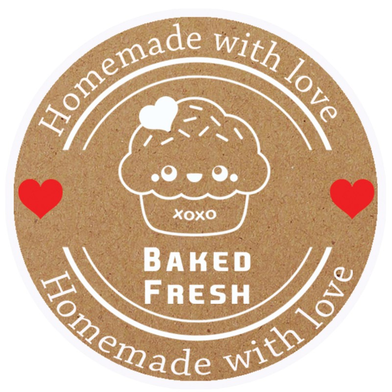 Baked Fresh Brown Round Sticker For Baking Cooking Food Packaging (Pack Of 500)