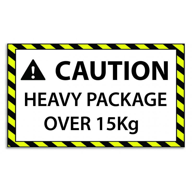 Caution Heavy Package Over 15kg Sticker For FBA Self Adhesive Easy Peel (Pack Of 75)