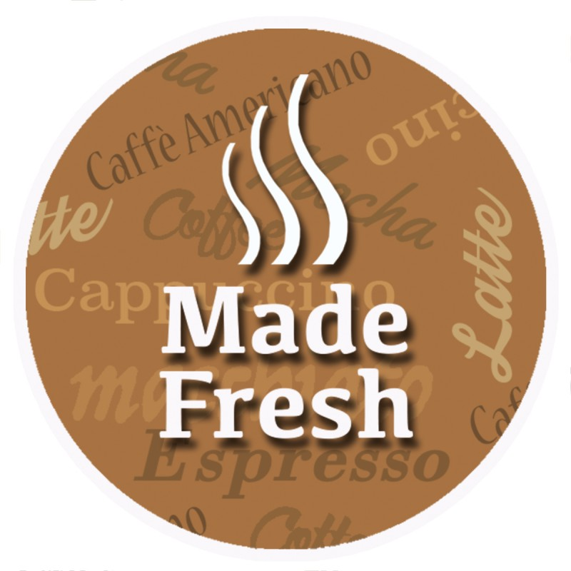 Made Fresh Brown Round Sticker For Baking Cooking Food Packaging (Pack Of 25)