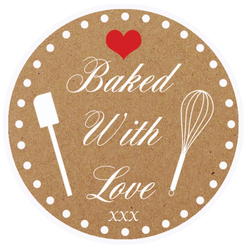 Baked With Love Brown Round Sticker For Baking Cooking Food Packaging (Pack Of 50)