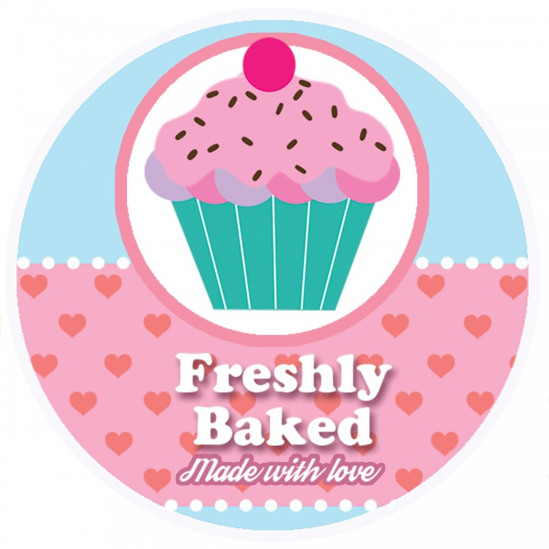 Freshly Baked Pink Round Sticker For Baking Cooking Food Packaging (Pack Of 250)