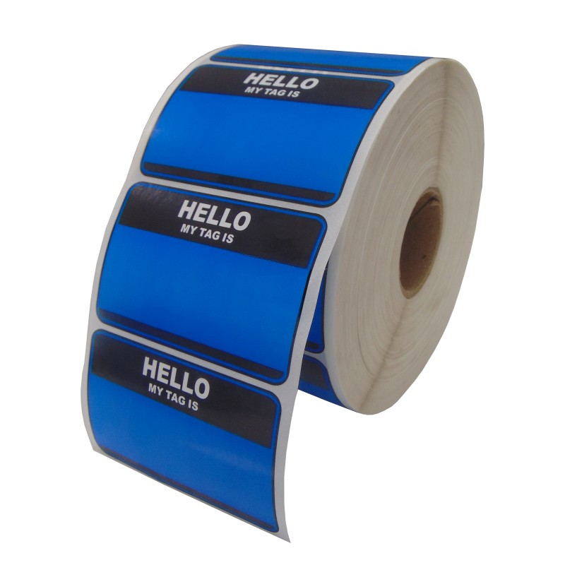 Hello My Tag Is Blue Stickers Slap Ups (8.5cm x 5.5cm) (Pack Of 50)