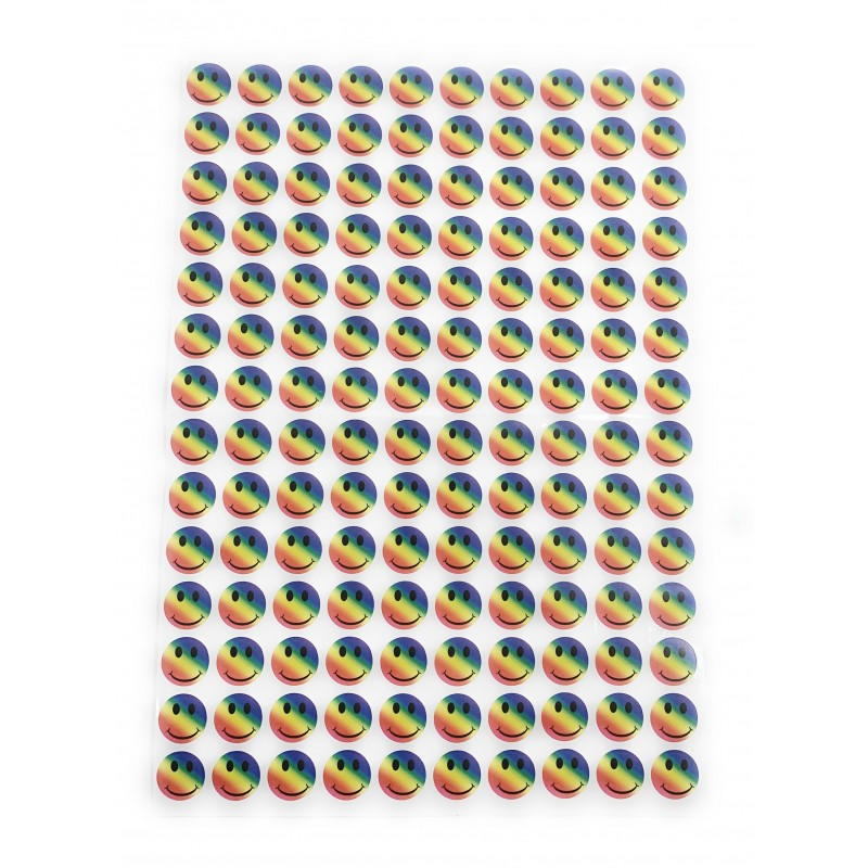 Emoji Rainbow Multi Colour Smiley Face Adhesive Sticker Decals (Pack Of 280)