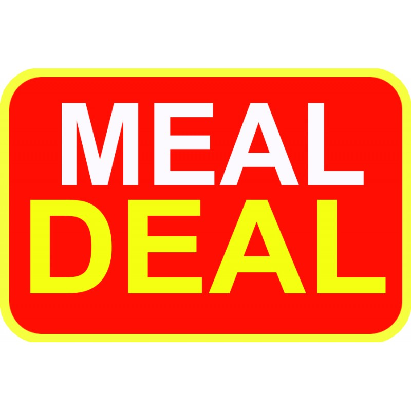 Meal Deal Red Sticker For Baking Cooking Food Packaging (Pack Of 10)