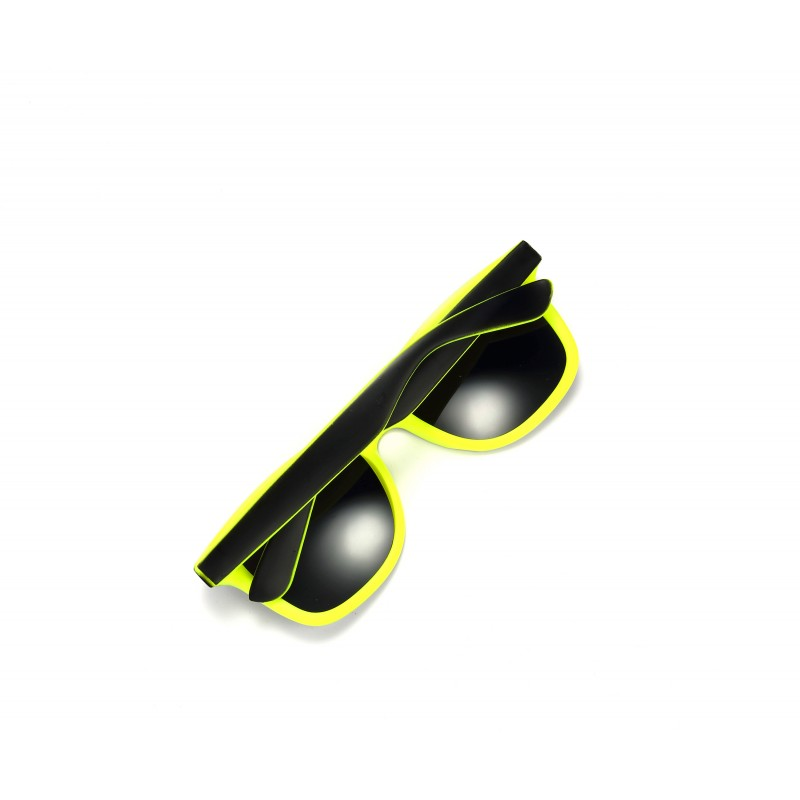 2-Tone Black and Bright Yellow Retro Drifter Style Sunglasses Unisex