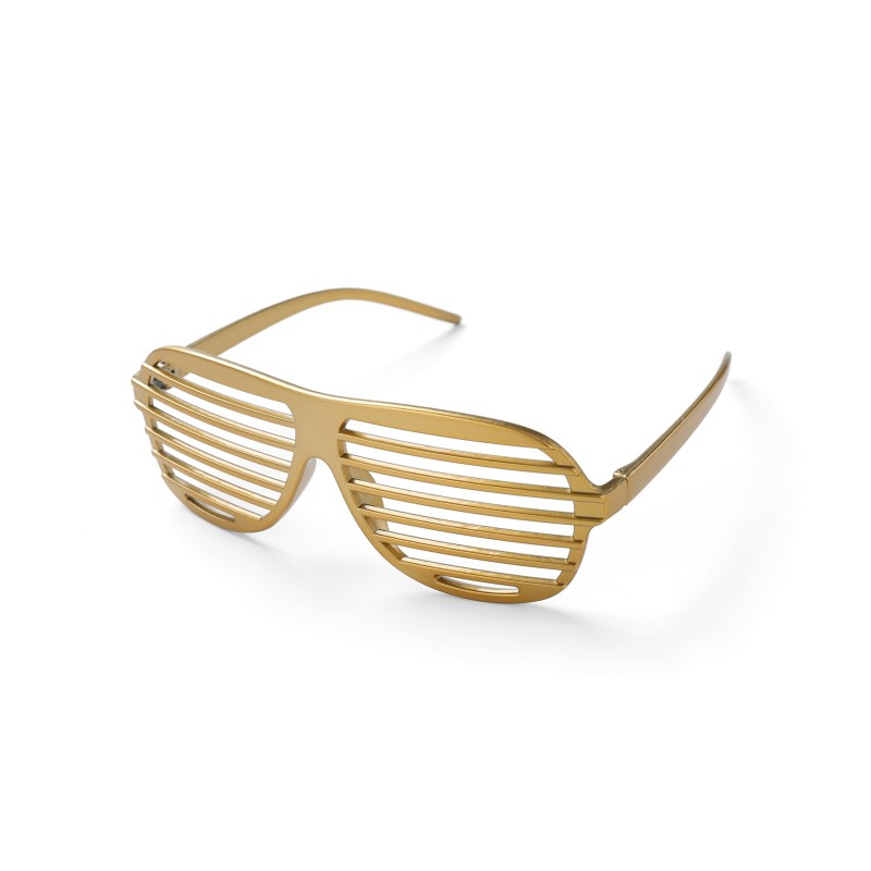 Gold Shutter Shades Fun Novelty Plastic Party Sunglasses