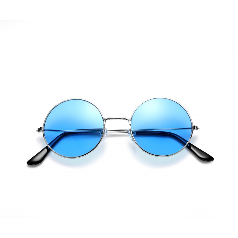 John Lennon Style Blue Flat Lens Round Sunglasses UV400 Protection (Pack of 5)
