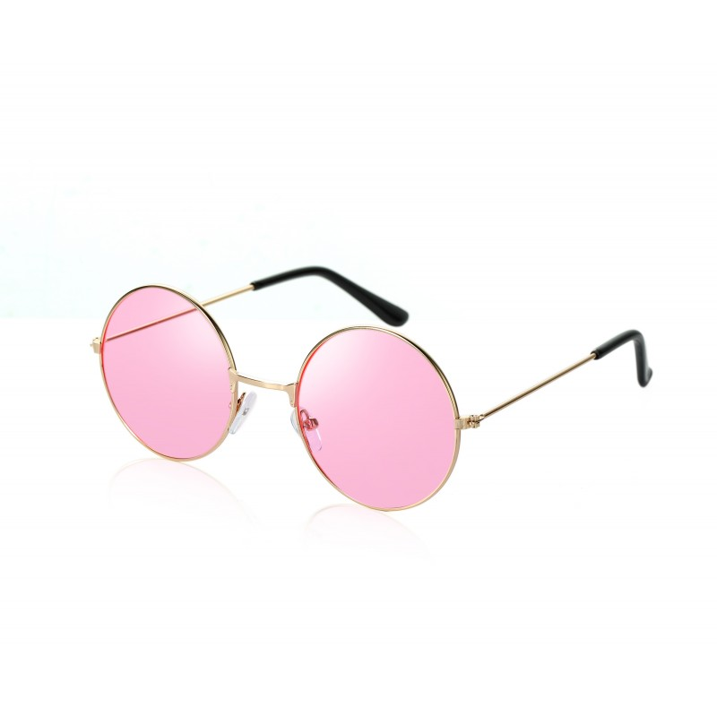 John Lennon Style Pink Flat Lens Round Sunglasses UV400 Protection (Pack of 10)
