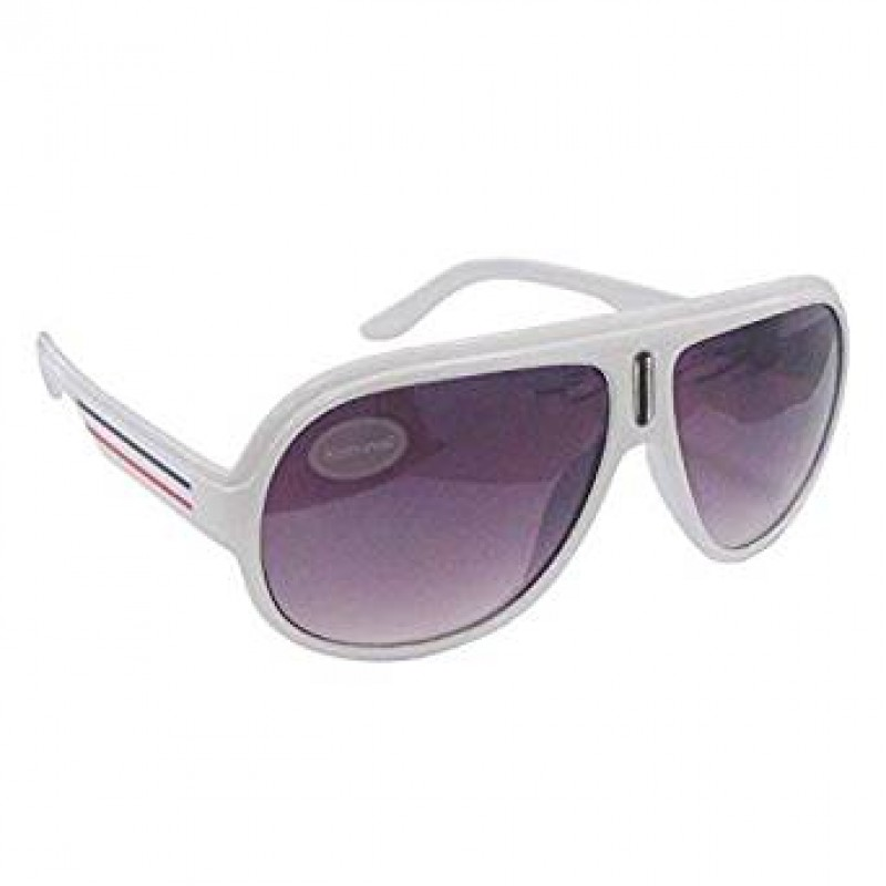 White Thick Frame Billionnaire Flight Style Sunglasses UV400 Protection