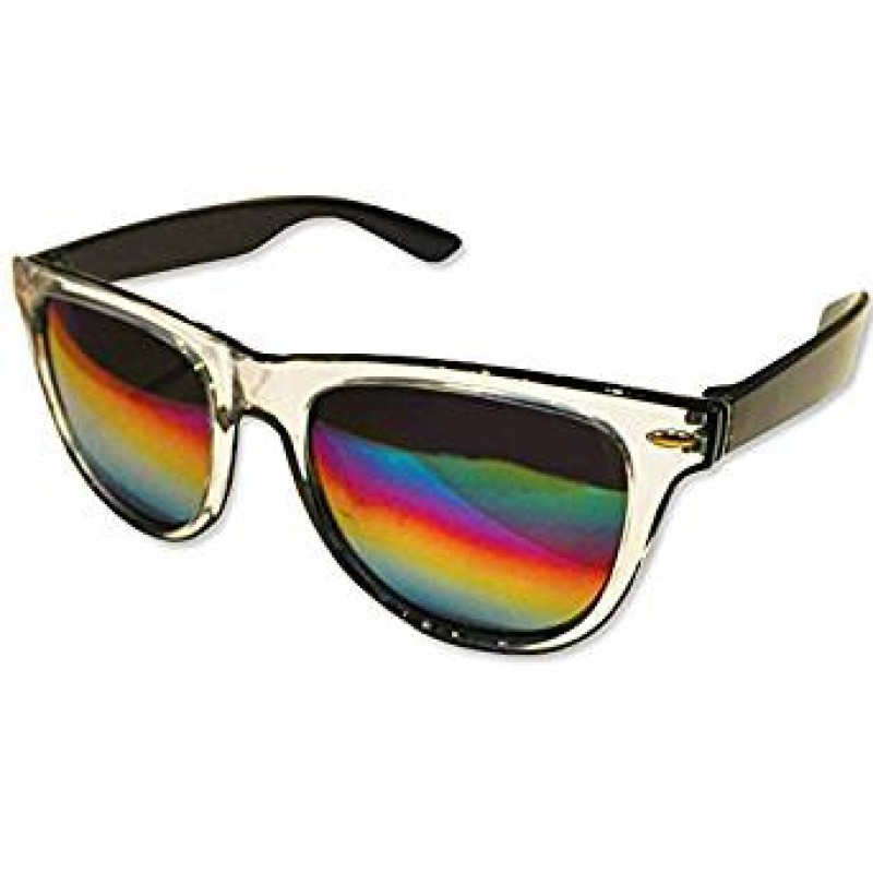 Clear Drifter Style Sunglasses With Rainbow Lens UV400 Protection Unisex