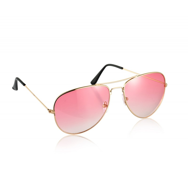 Pilot Style Pink Lens Sunglasses Designer Unisex UV400 Protection Shades (Pack of 3)