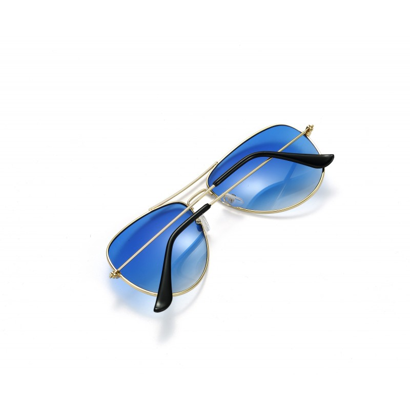 Pilot Style Blue Lens Sunglasses Designer Unisex UV400 Protection Shades