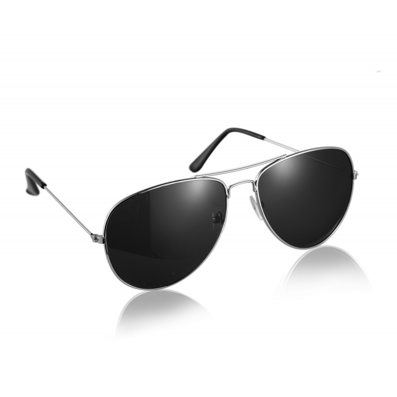 Pilot Style Silver With Black Lens Sunglasses Designer Unisex UV400 Protection Shades (Pack of 10)