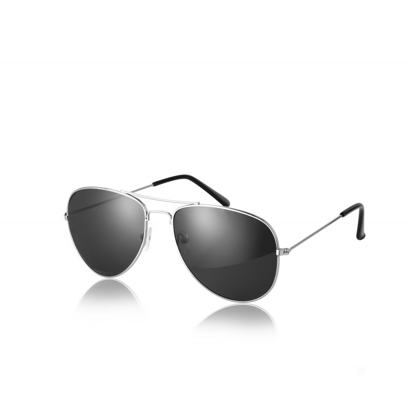 Pilot Style Silver With Black Lens Sunglasses Designer Unisex UV400 Protection Shades (Pack of 5)
