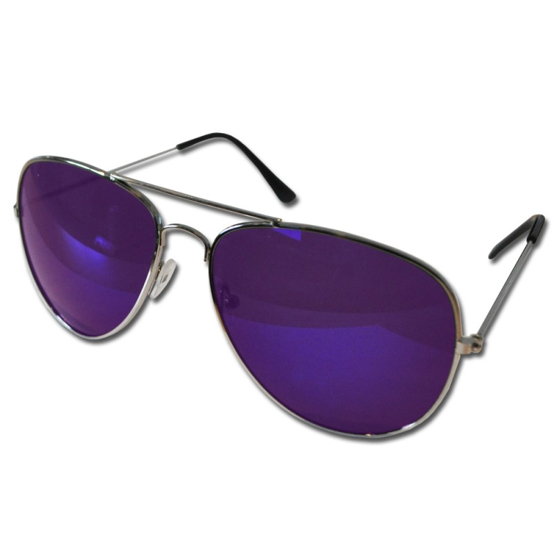 Pilot Style Purple Lens Sunglasses Designer Unisex UV400 Protection Shades