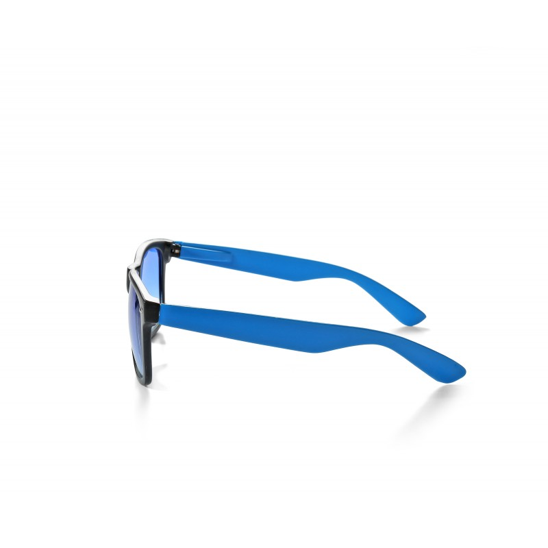 2-Tone Black and Blue Retro Drifter Style Unisex Sunglasses With Clear Lens