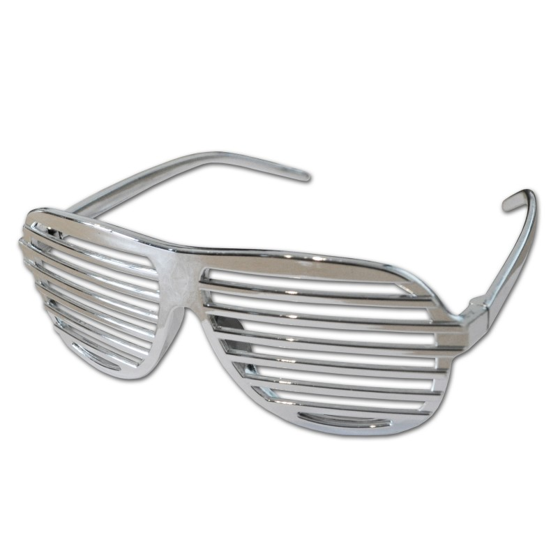Silver Shutter Shades Fun Novelty Plastic Party Sunglasses