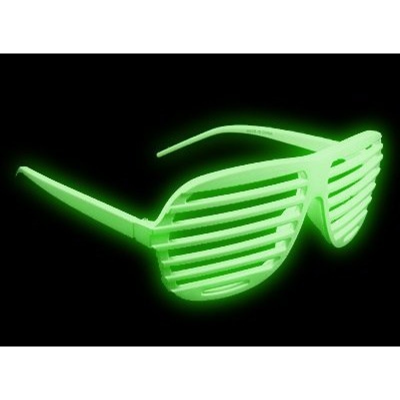 Green Shutter Shades Fun Novelty Plastic Party Sunglasses