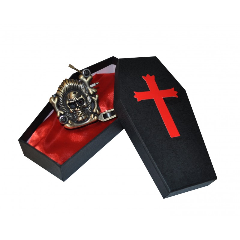 Black Coffin Tattoo Machine Gun Carry Case With Red Satin