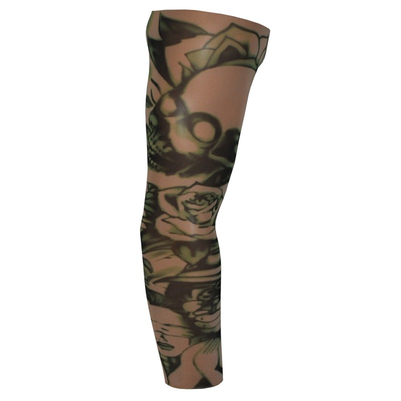 Fake Tattoo Arm Sleeve Skull Rose and Robber (T71)