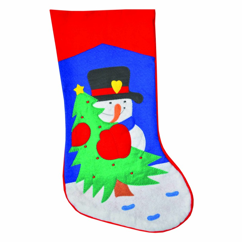 Christmas Tree Santa Bear Traditional Xmas Red Felt Stocking Sack (Pack of 1)