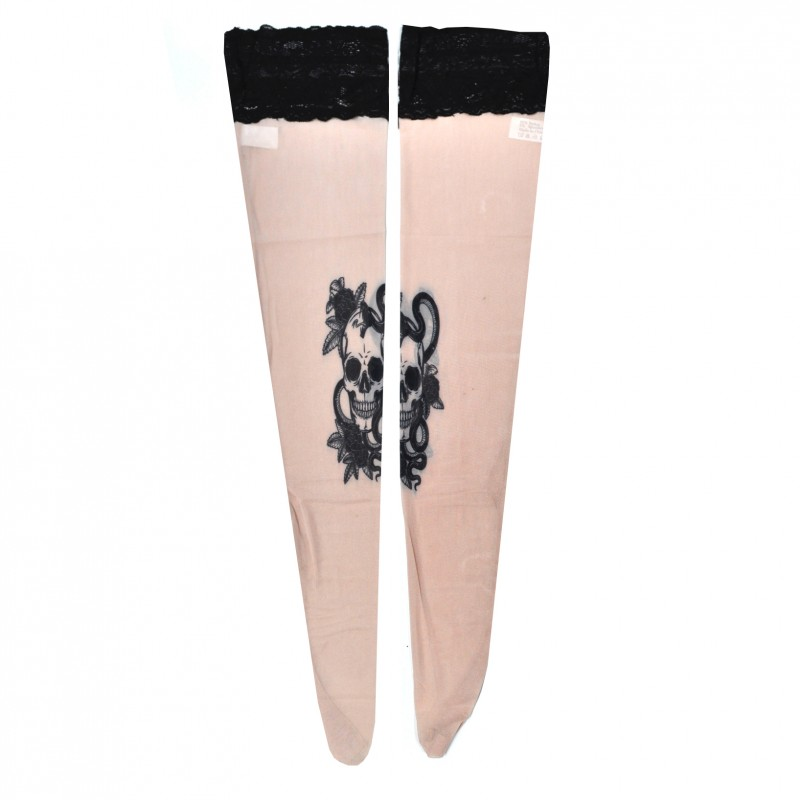 Women's Fake Tattoo Hold Ups Stockings Dead Skull Design (TS07)