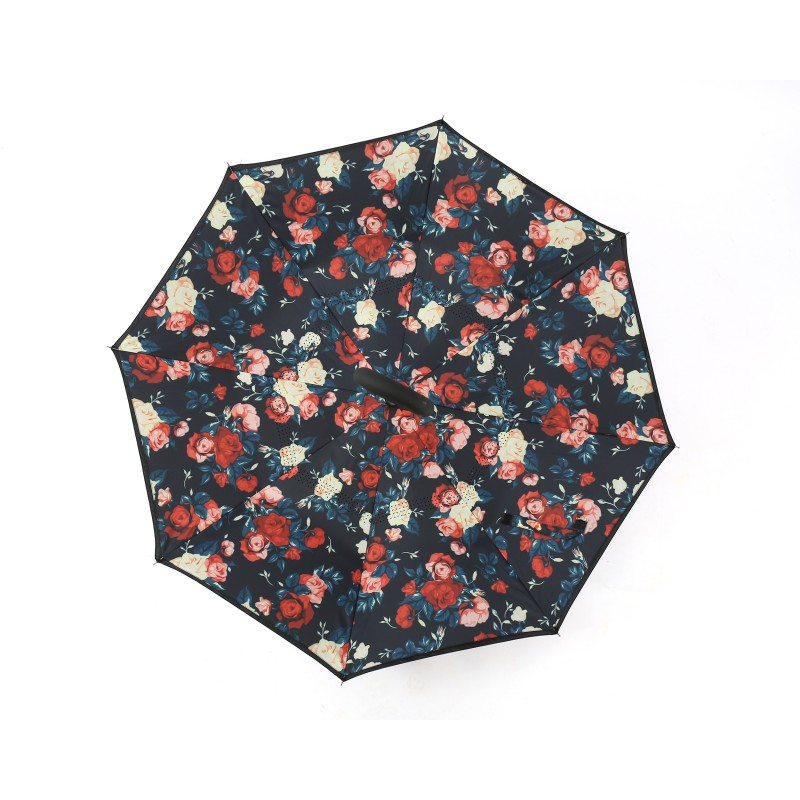 Strong Self Standing Windproof Umbrella Black and Floral